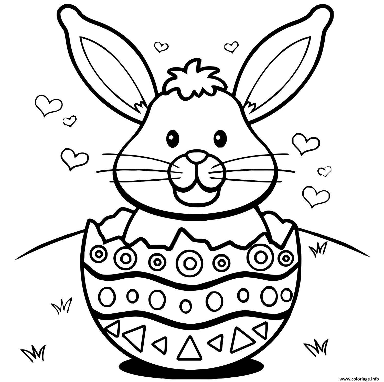 coloriage lapin de paques oeufs coeurs dessin. Black Bedroom Furniture Sets. Home Design Ideas