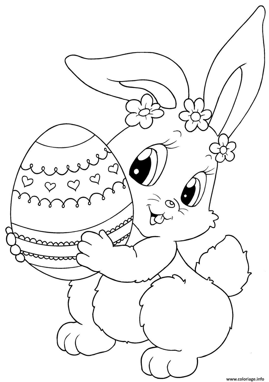 coloriage lapin de paques avec un oeuf dessin. Black Bedroom Furniture Sets. Home Design Ideas