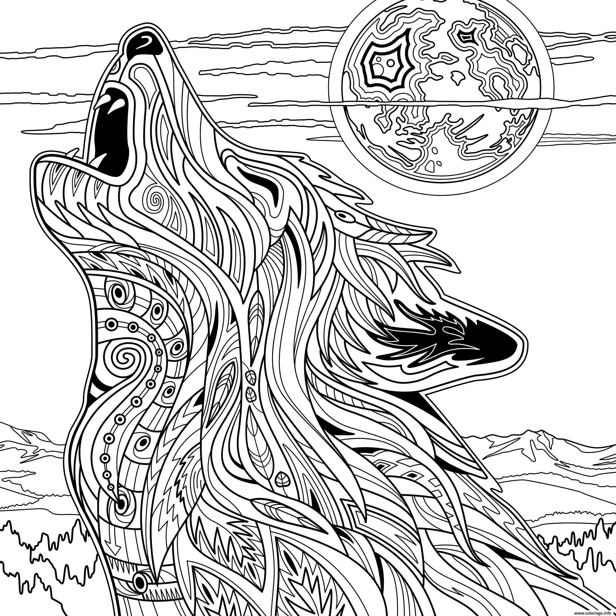 Coloriage adulte loup animaux yellowstone national park - Dessin de loup a imprimer ...