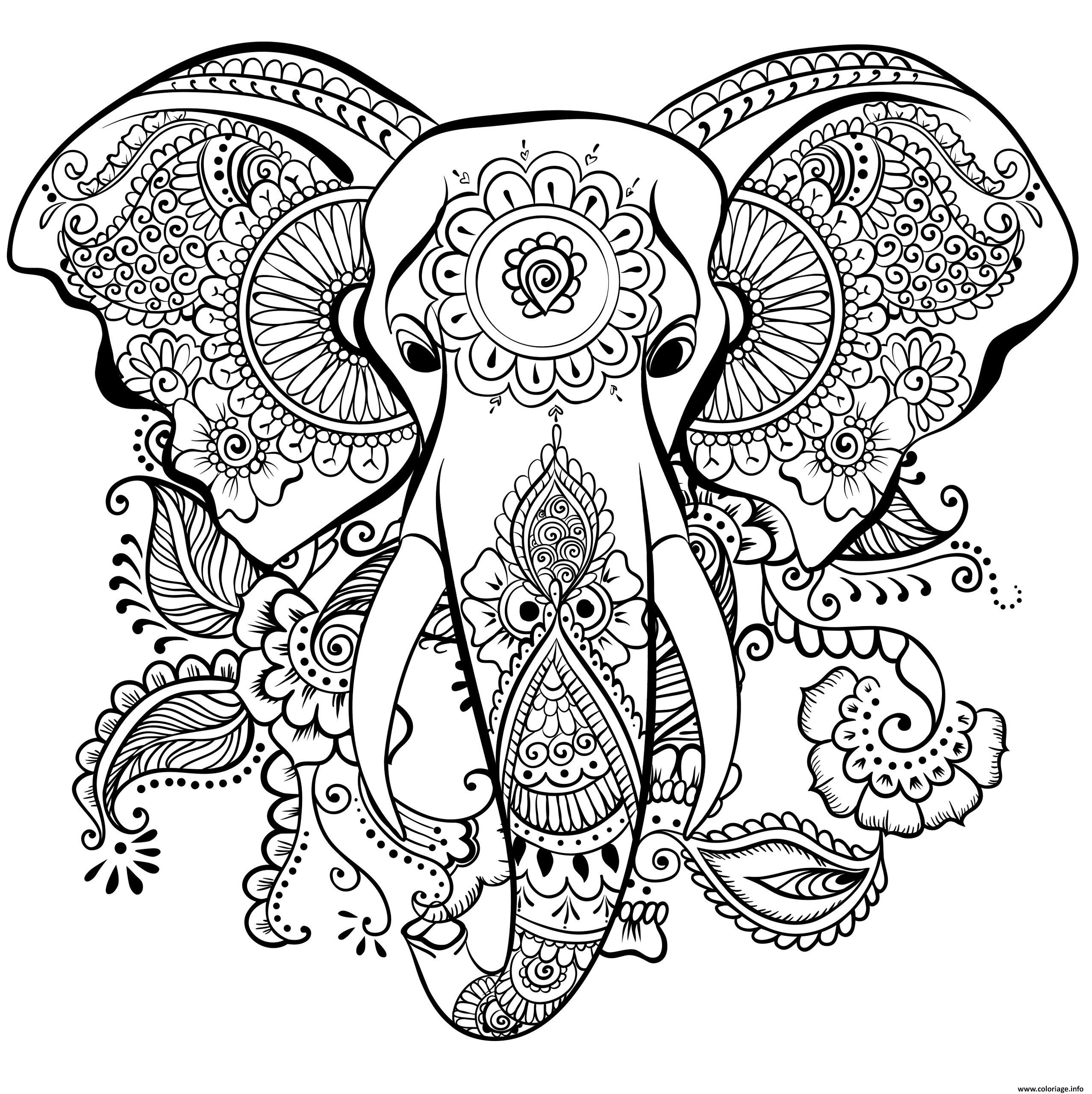 Coloriage Elephant Pour Adulte.Coloriage Elephant Anti Stress Adulte Dessin