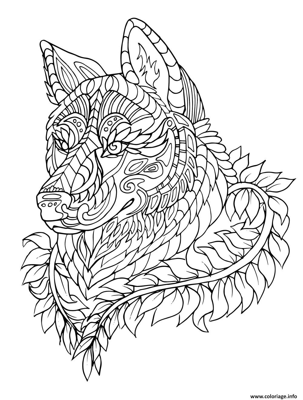 Coloriage loup wolf adulte zentangle - Coloriage de loups ...