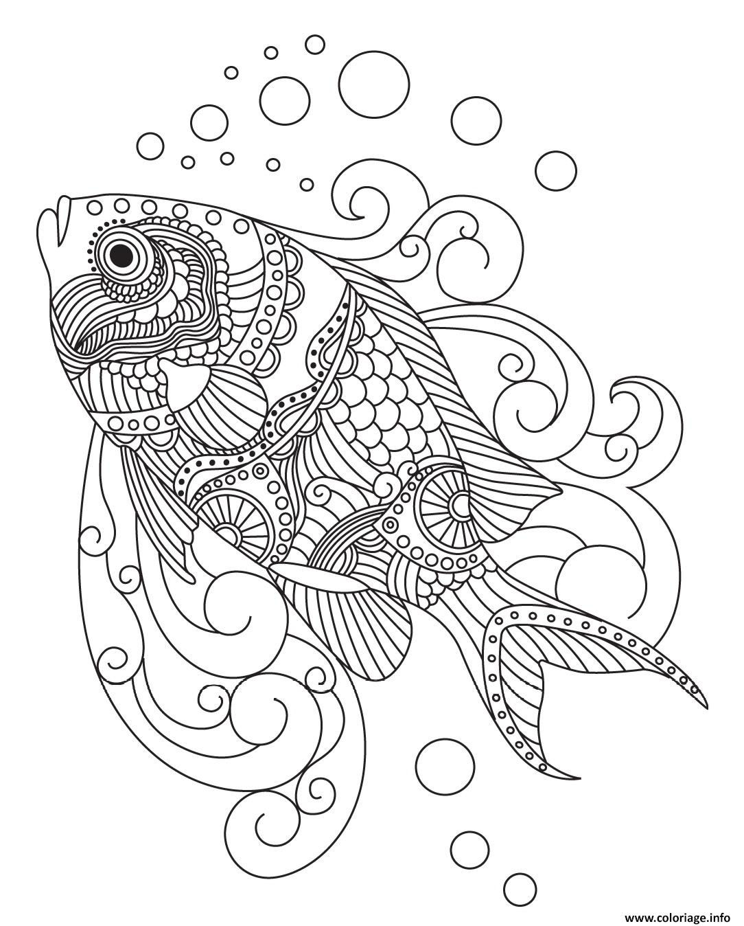 Coloriage Mandala De Poisson.Coloriage Poisson Mandala Adulte Dessin