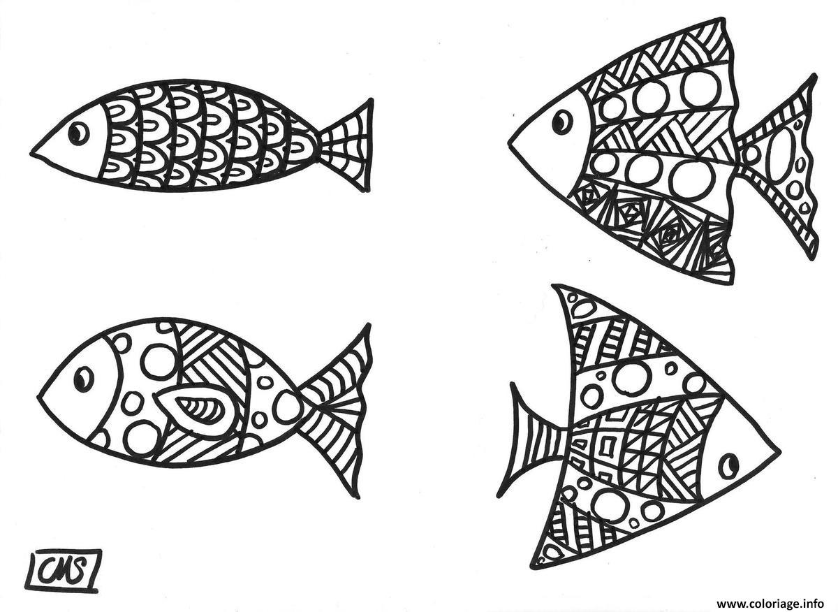 Coloriage Poisson Avril Mandala Jecolorie Com