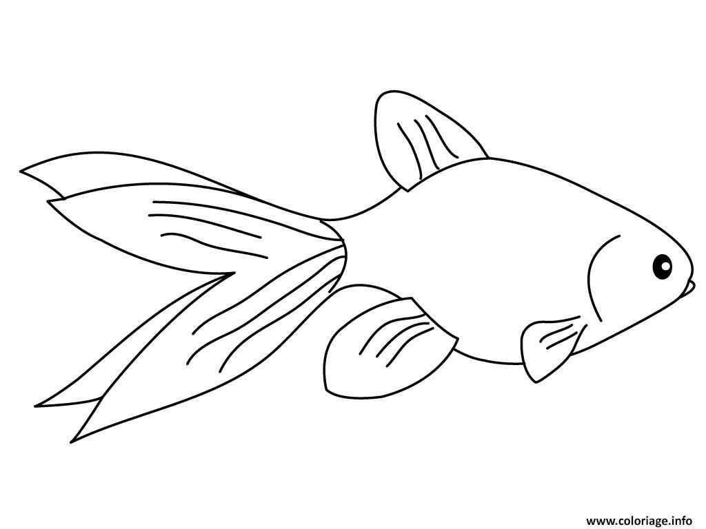 Coloriage poisson rouge pour le 1ier avril - Dessin de poisson rouge ...