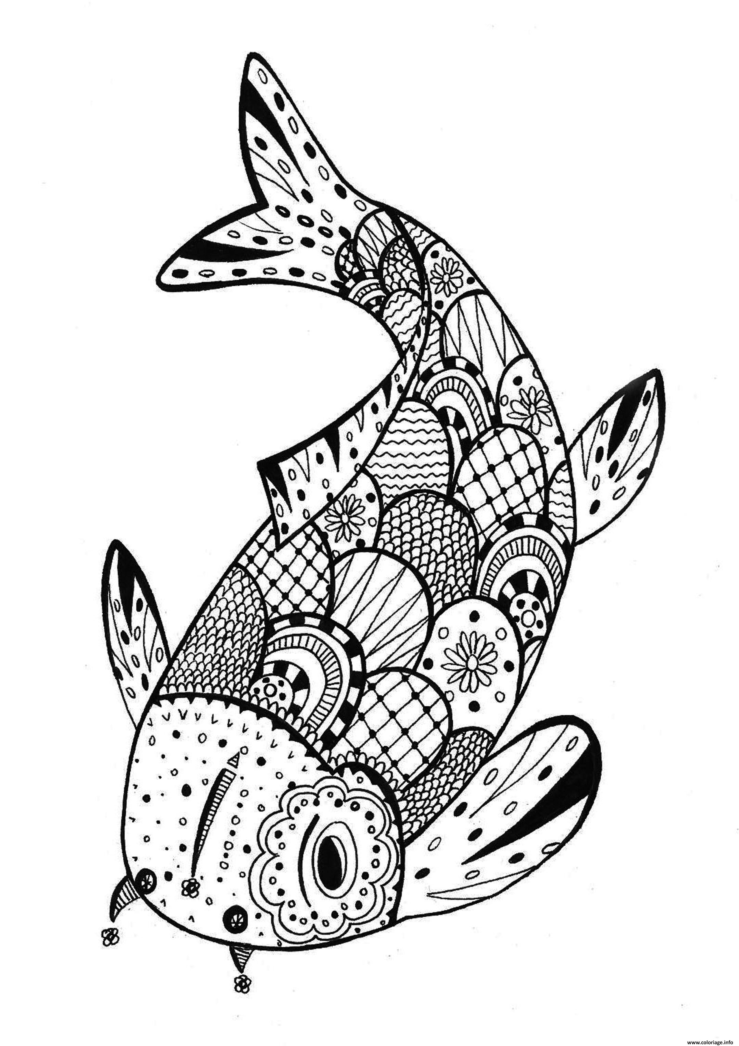 Coloriage poisson davril mandala - Dessin poisson simple ...