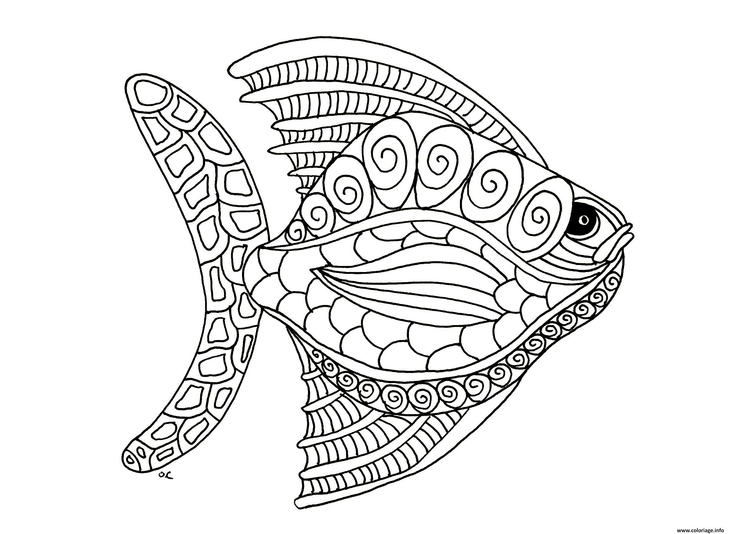 Coloriage Mandala De Poisson.Coloriage Poisson Avril Adulte Mandala Zentangle Dessin