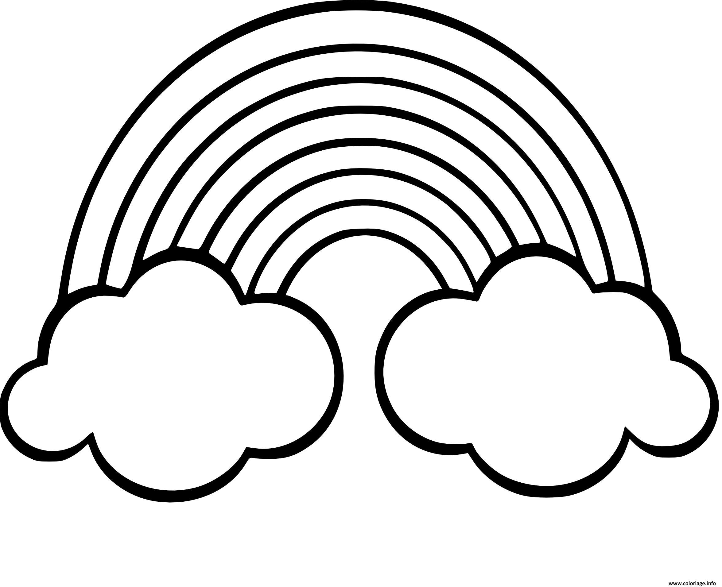 Coloriage Arc En Ciel Avec Nuages Jecoloriecom