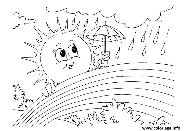 Coloriage arc en ciel soleil pluie nature - Arc en ciel dessin a colorier ...
