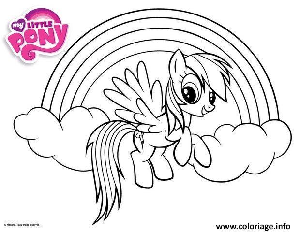 Coloriage Rainbow Dash Et Un Arc En Ciel Jecolorie Com