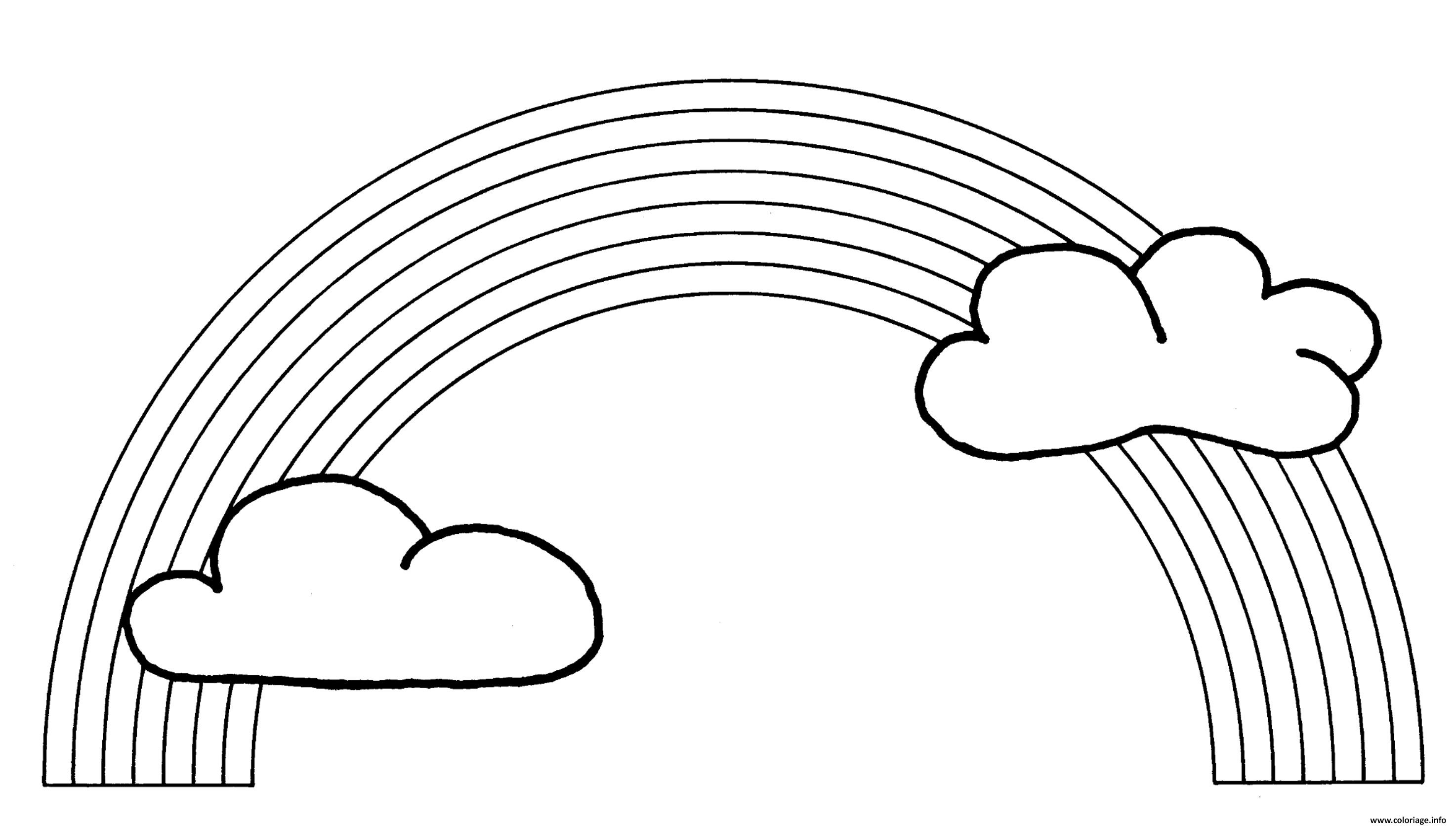Coloriage arc en ciel avec nuage - Coloriage ciel ...