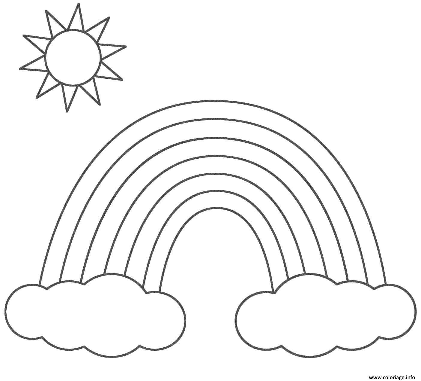 Coloriage arc en ciel nuage et soleil - Arc en ciel dessin a colorier ...