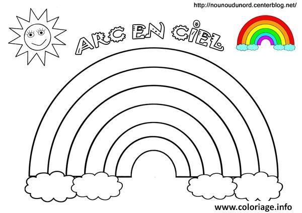 Coloriage Arc En Ciel Soleil Avec Couleurs Dessin