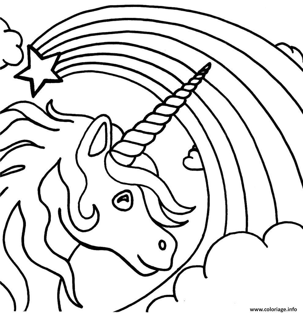 Dessin arc en ciel avec licorne etoile Coloriage Gratuit à Imprimer
