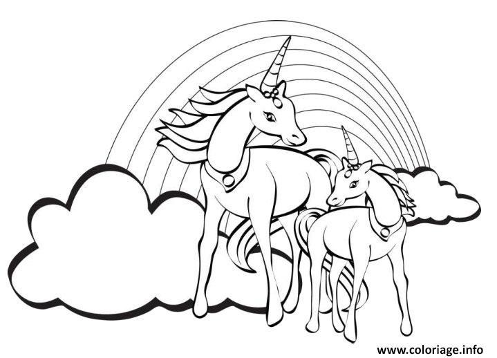 Coloriage Deux Licornes Arc En Ciel Jecoloriecom