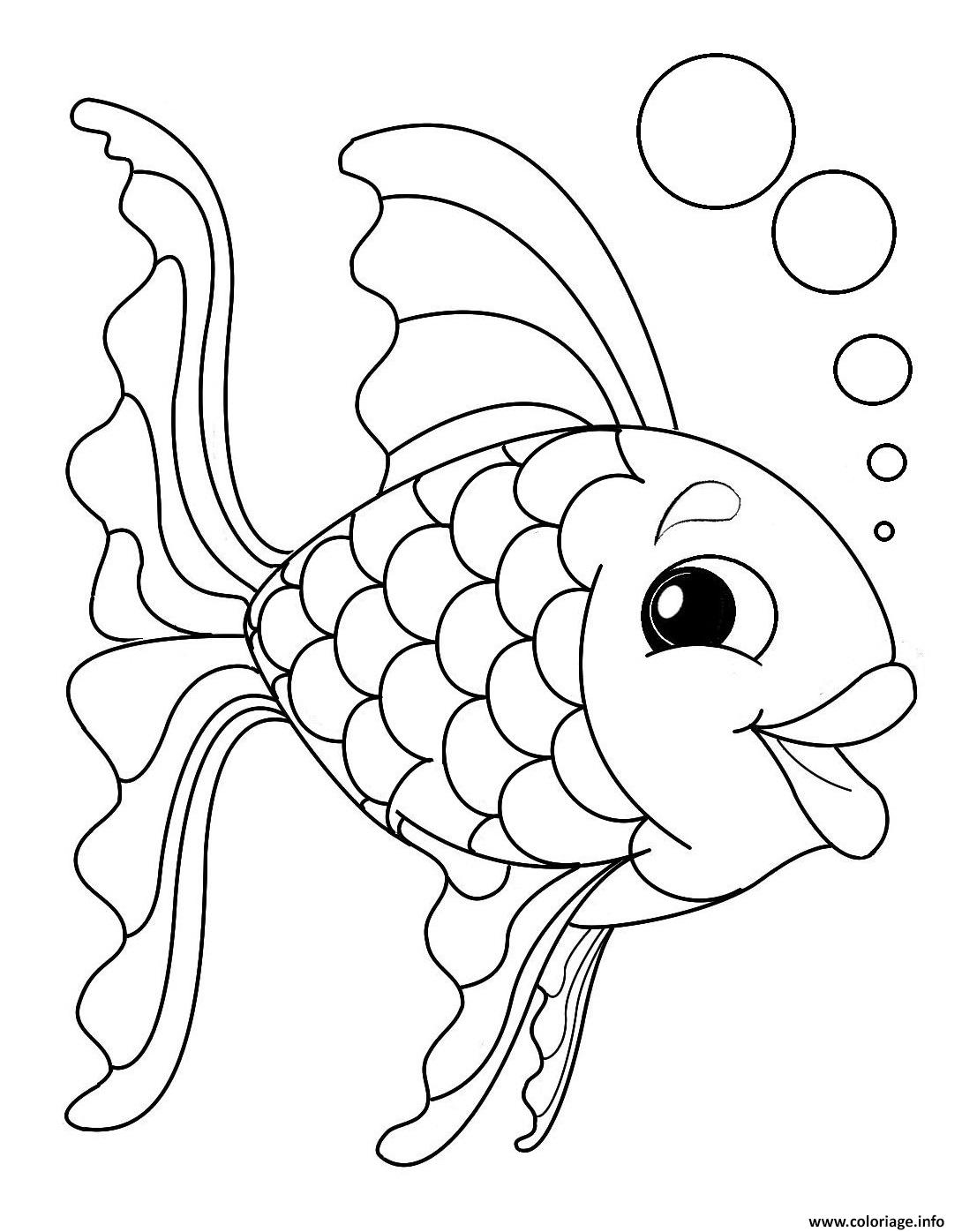 Coloriage poisson arc en ciel dessin - Dessin poisson simple ...