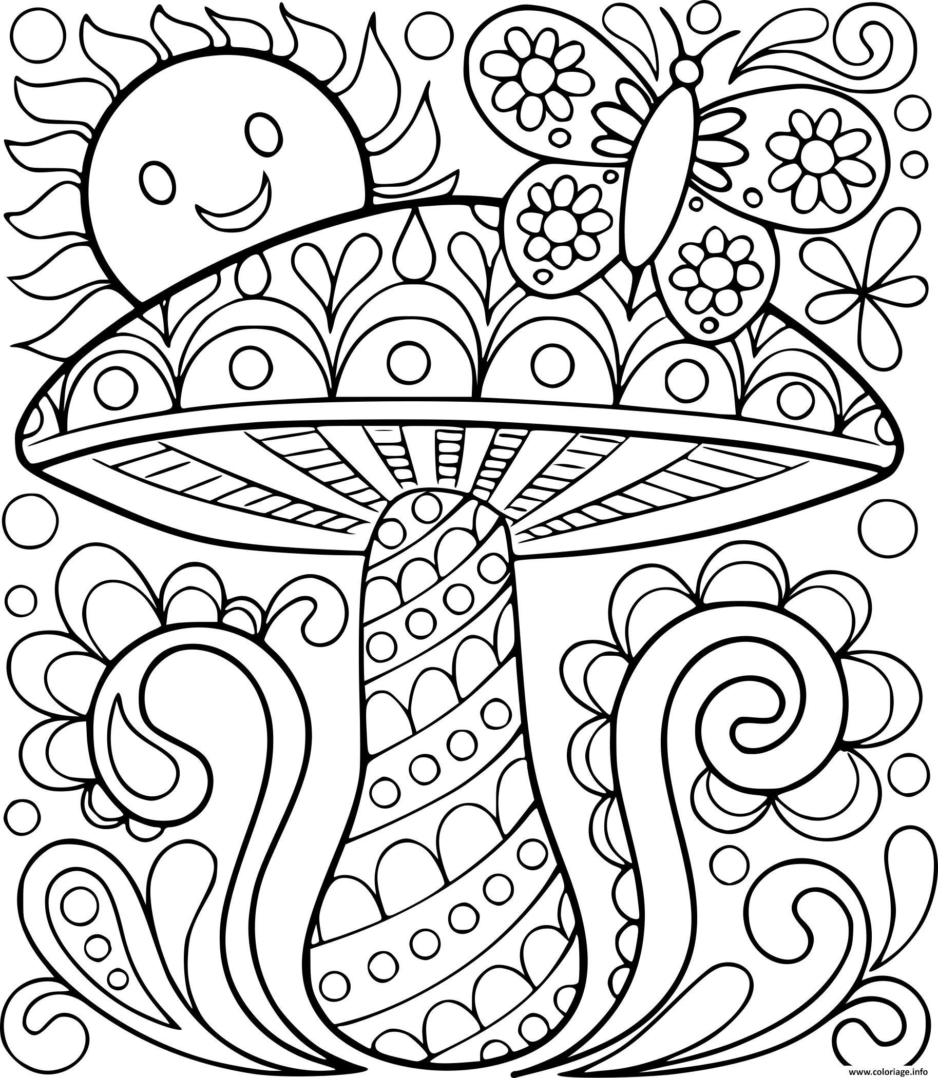 Coloriage Adulte Champignon Soleil Papillon Nature dessin