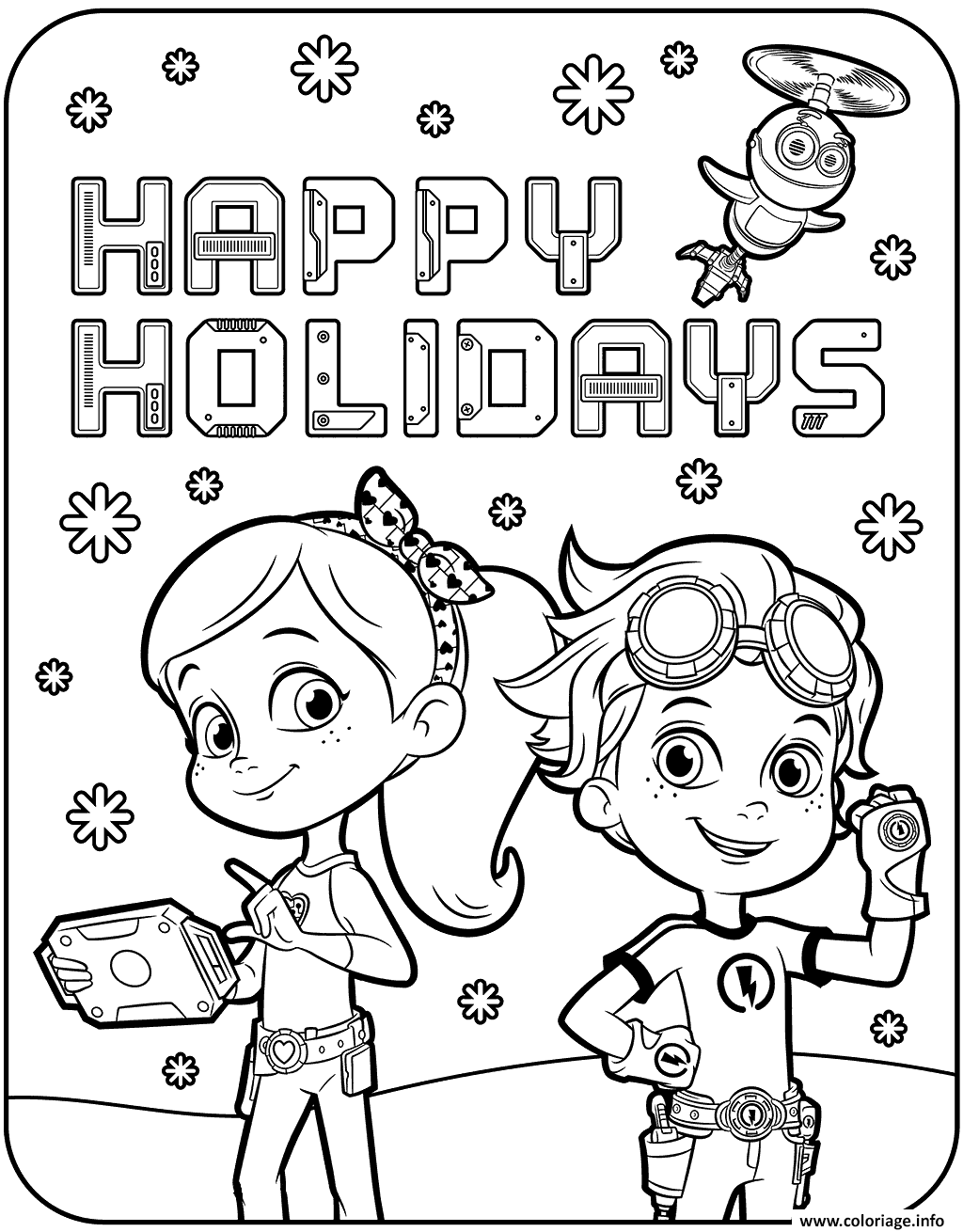 Dessin Happy Holidays with Rusty Rivets Coloriage Gratuit à Imprimer