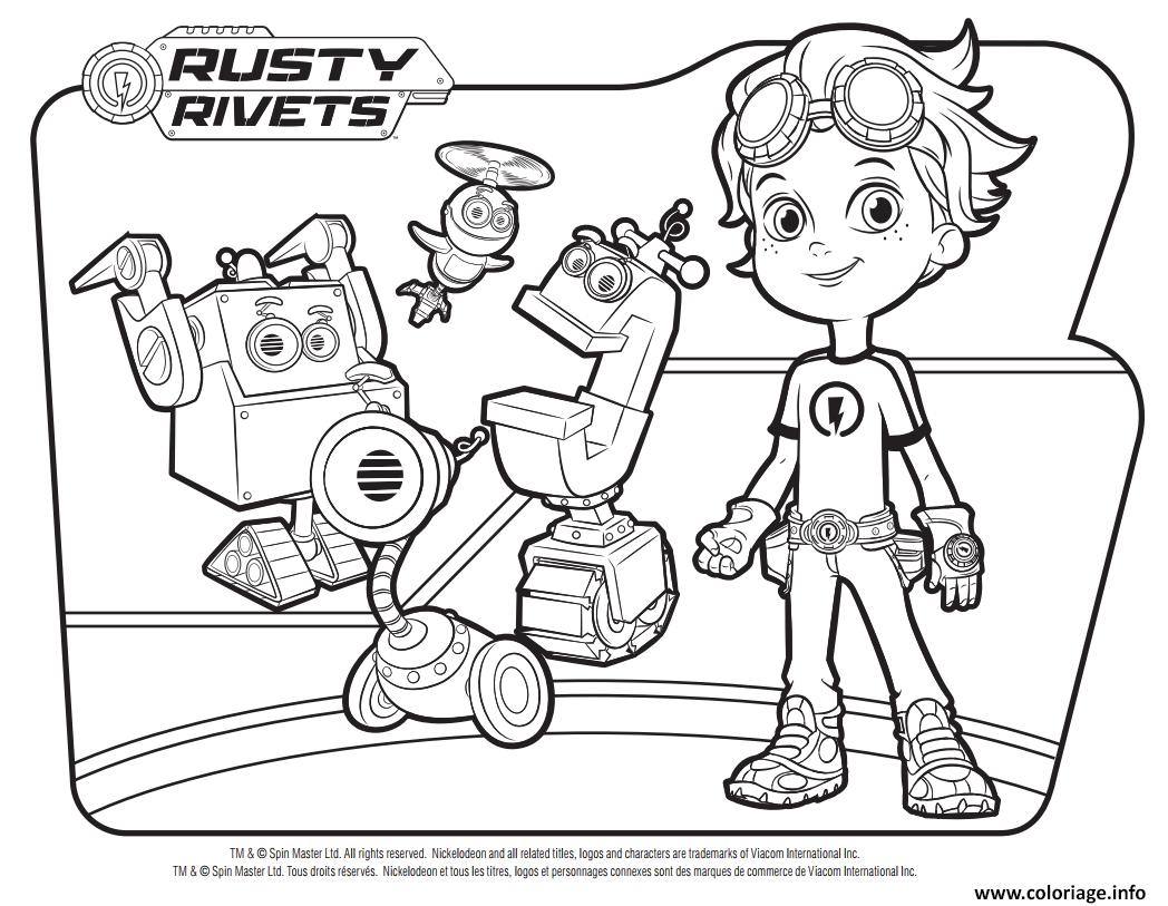 Dessin Rusty Rivets Robots Coloriage Gratuit à Imprimer