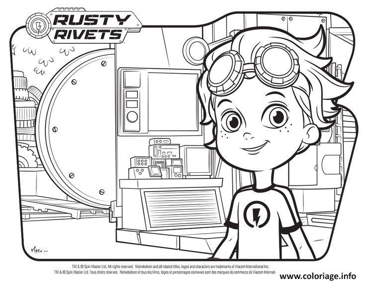 Dessin rusty rivets randy au lab Coloriage Gratuit à Imprimer