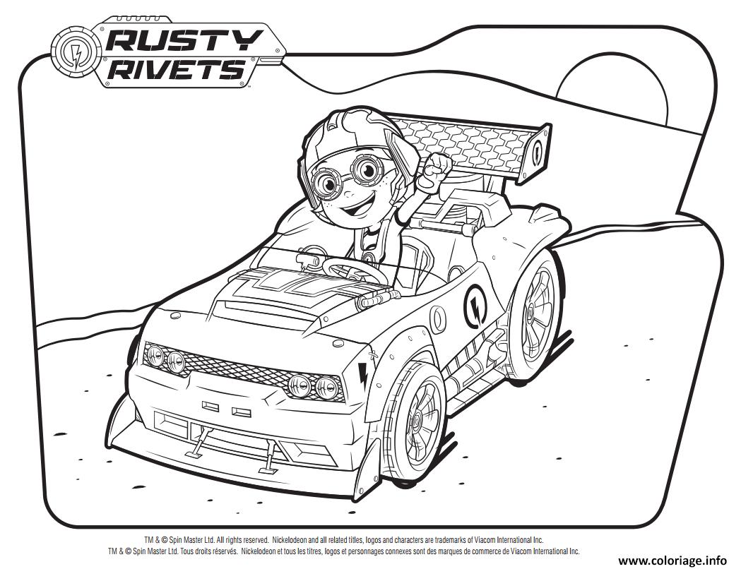 Dessin Rusty Rivets dans la voiture Coloriage Gratuit à Imprimer