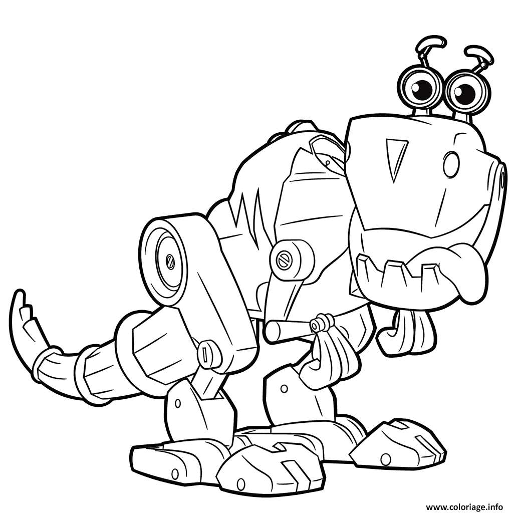 Coloriage Cute Robot From Rusty Rivets Robot Dinosaur Jecolorie Com