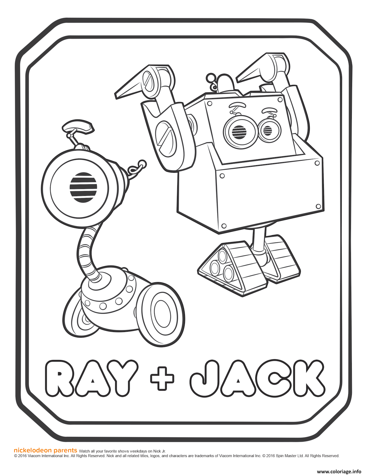 Dessin Rusty Rivets Ray and Jack Coloring Page Coloriage Gratuit à Imprimer