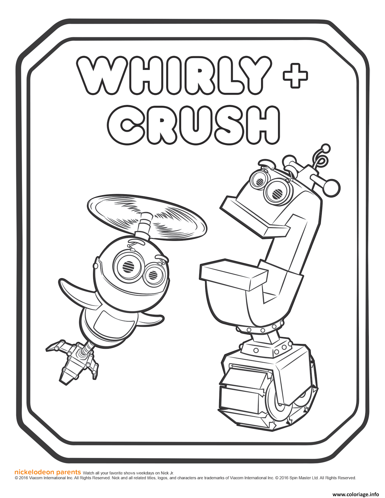 Dessin Rusty Rivets Whirly and Crush Coloring Page Coloriage Gratuit à Imprimer