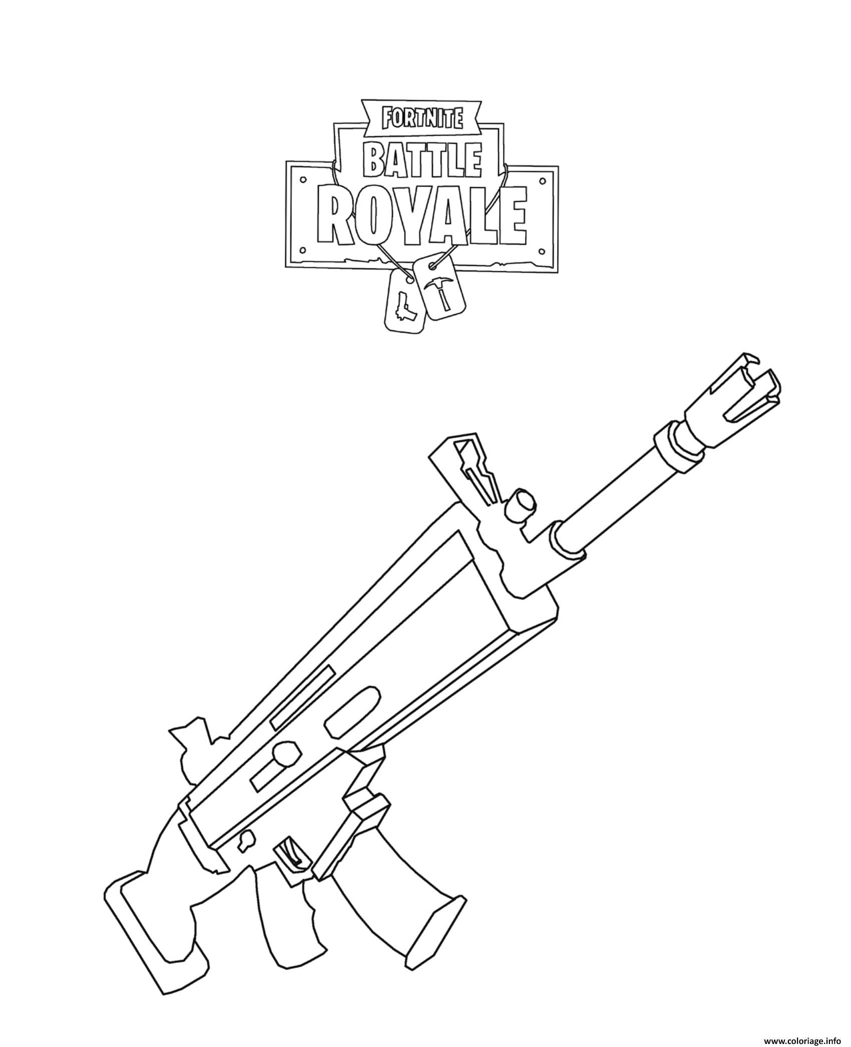 Coloriage Fortnite Battle Royale Scar Jecolorie Com
