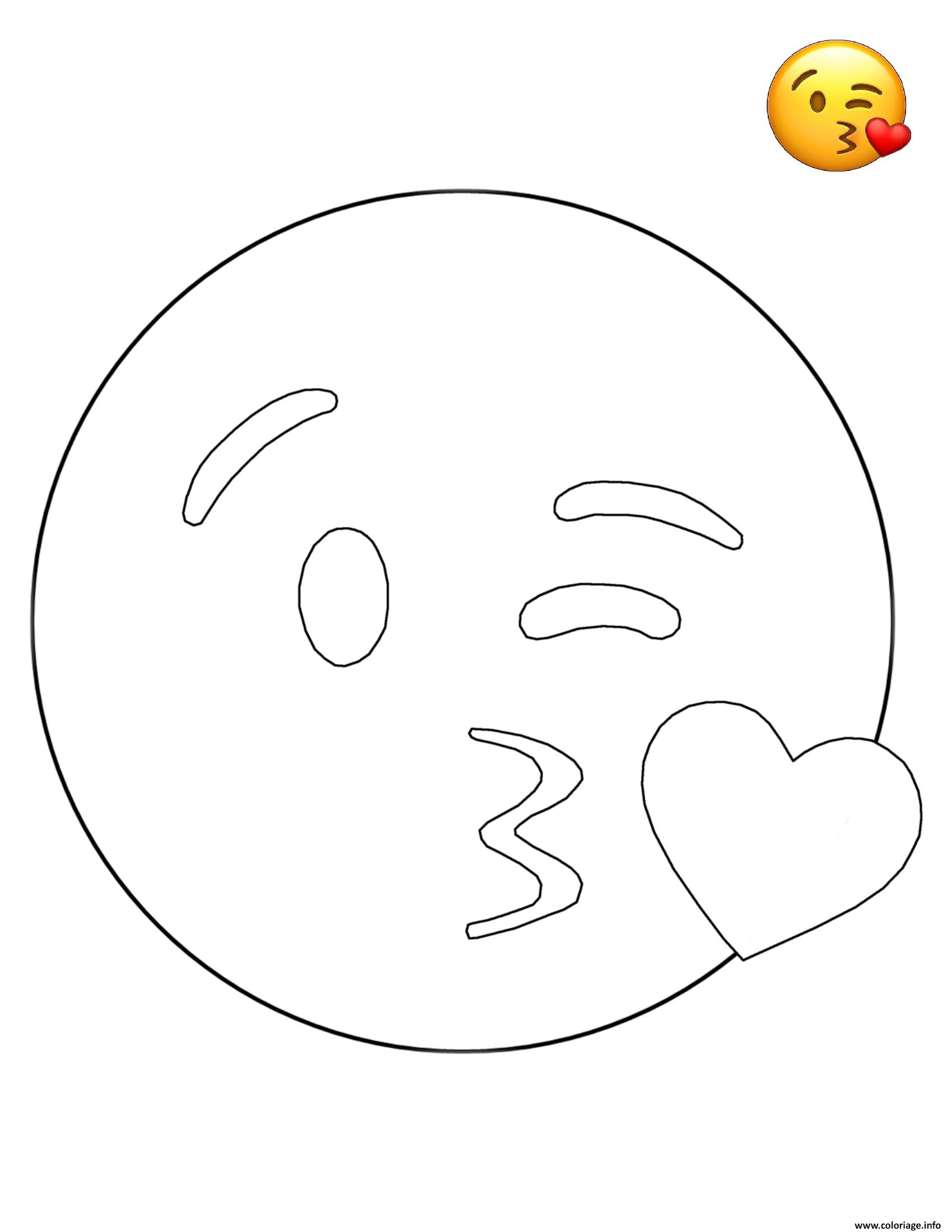 Coloriage emoji kissing smiley dessin - Coloriage de smiley ...