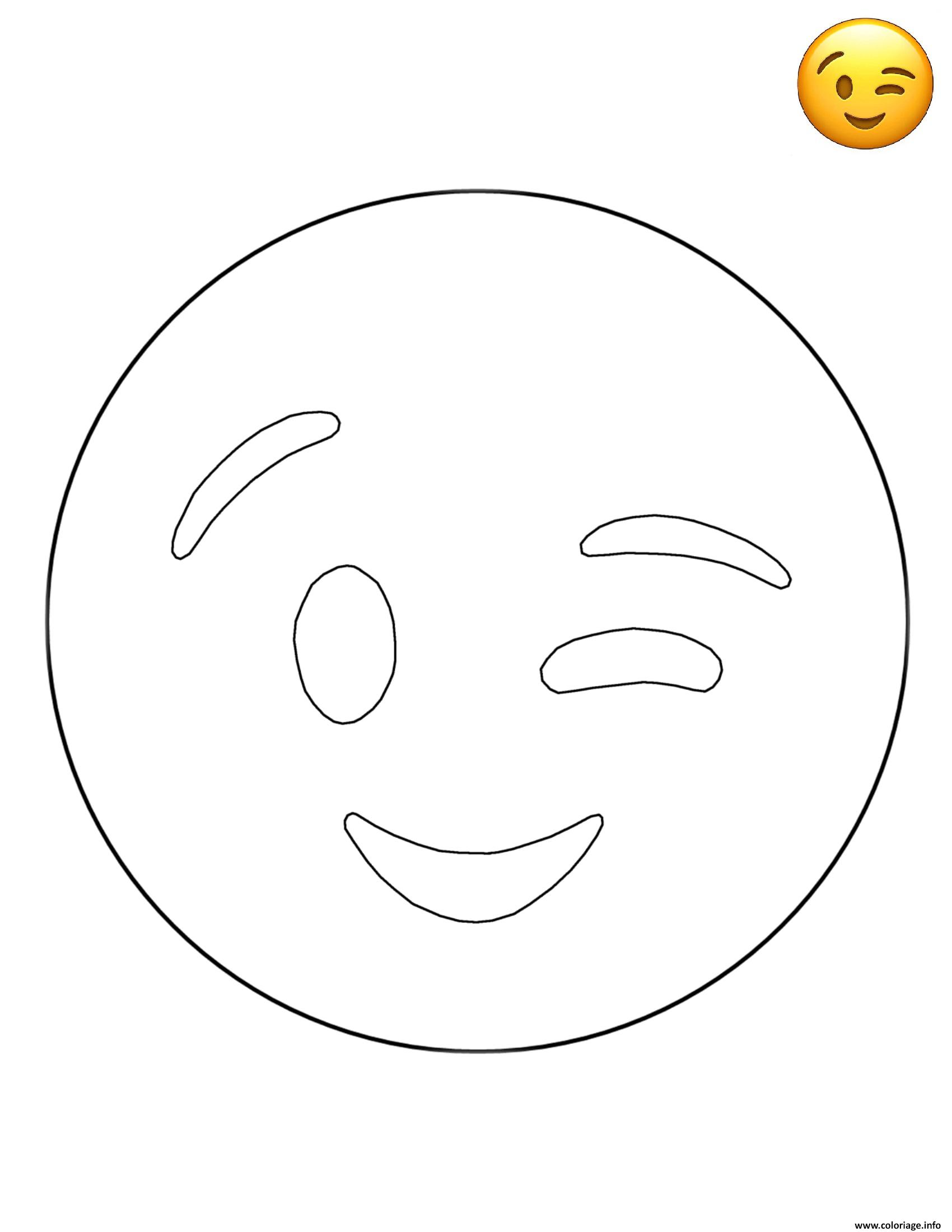 Coloriage Emoji Wink Smiley Dessin