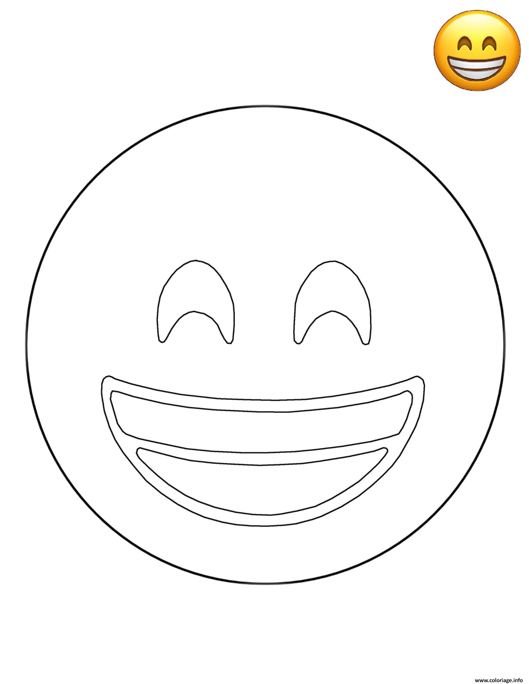 Coloriage emoji grinning smile smiley - Smiley a imprimer ...