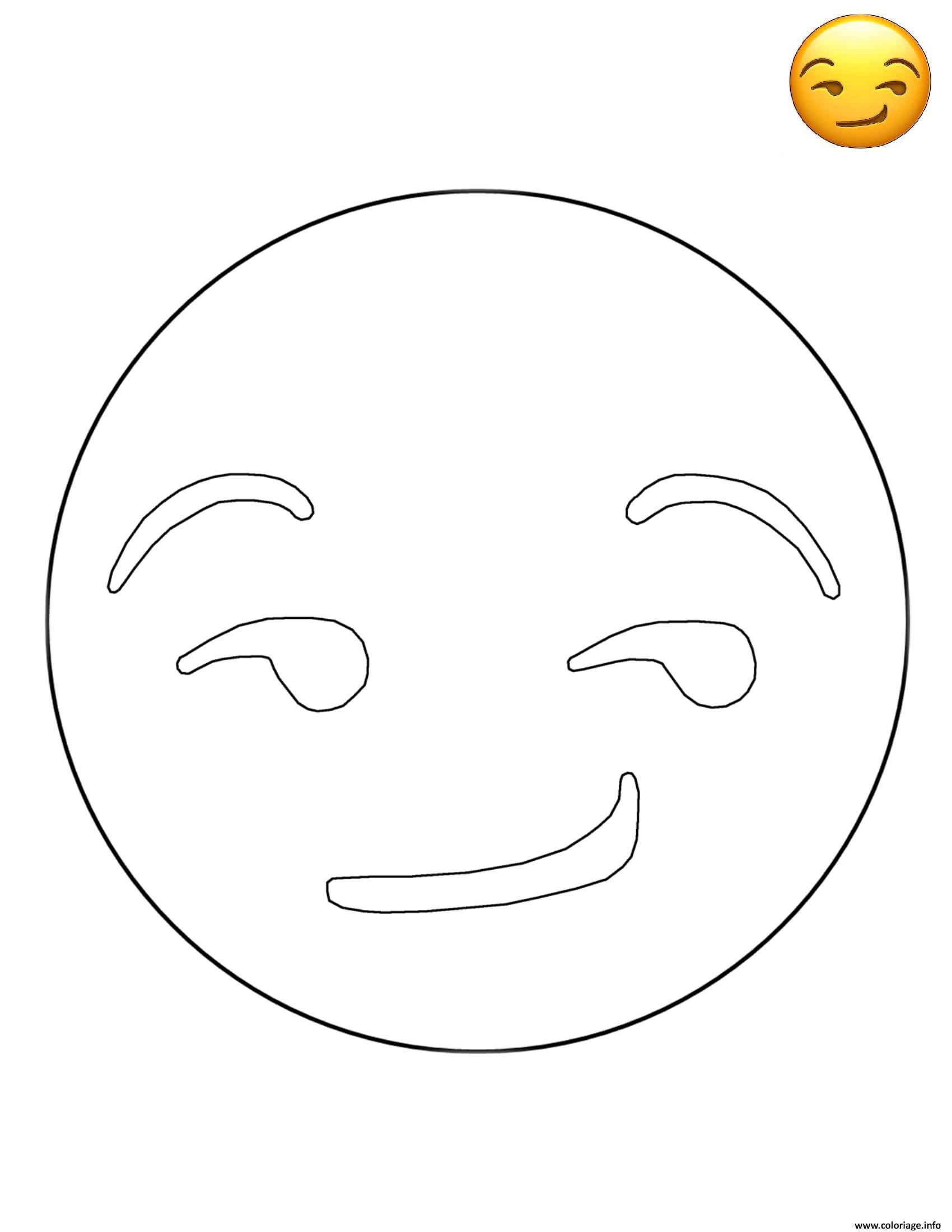Coloriage emoji smirk smiley dessin - Smiley a imprimer ...