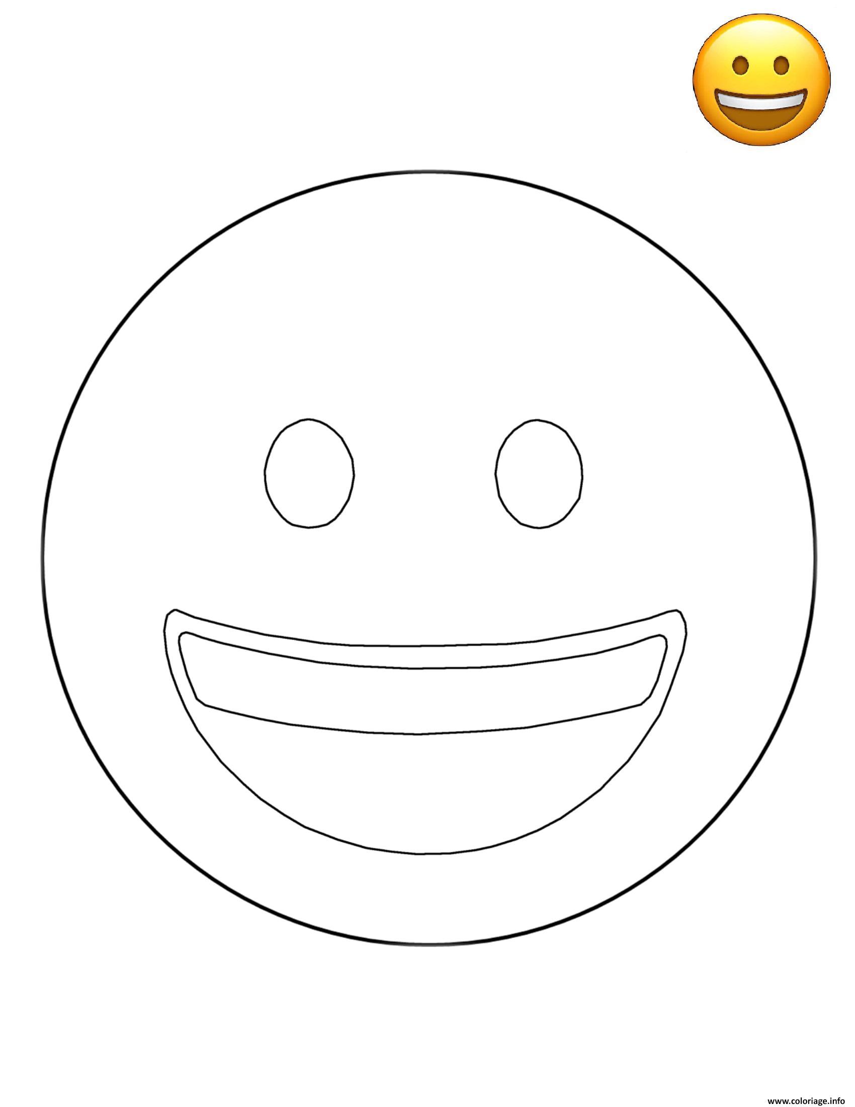 Coloriage emoji smiling face smiley dessin - Smiley a imprimer ...