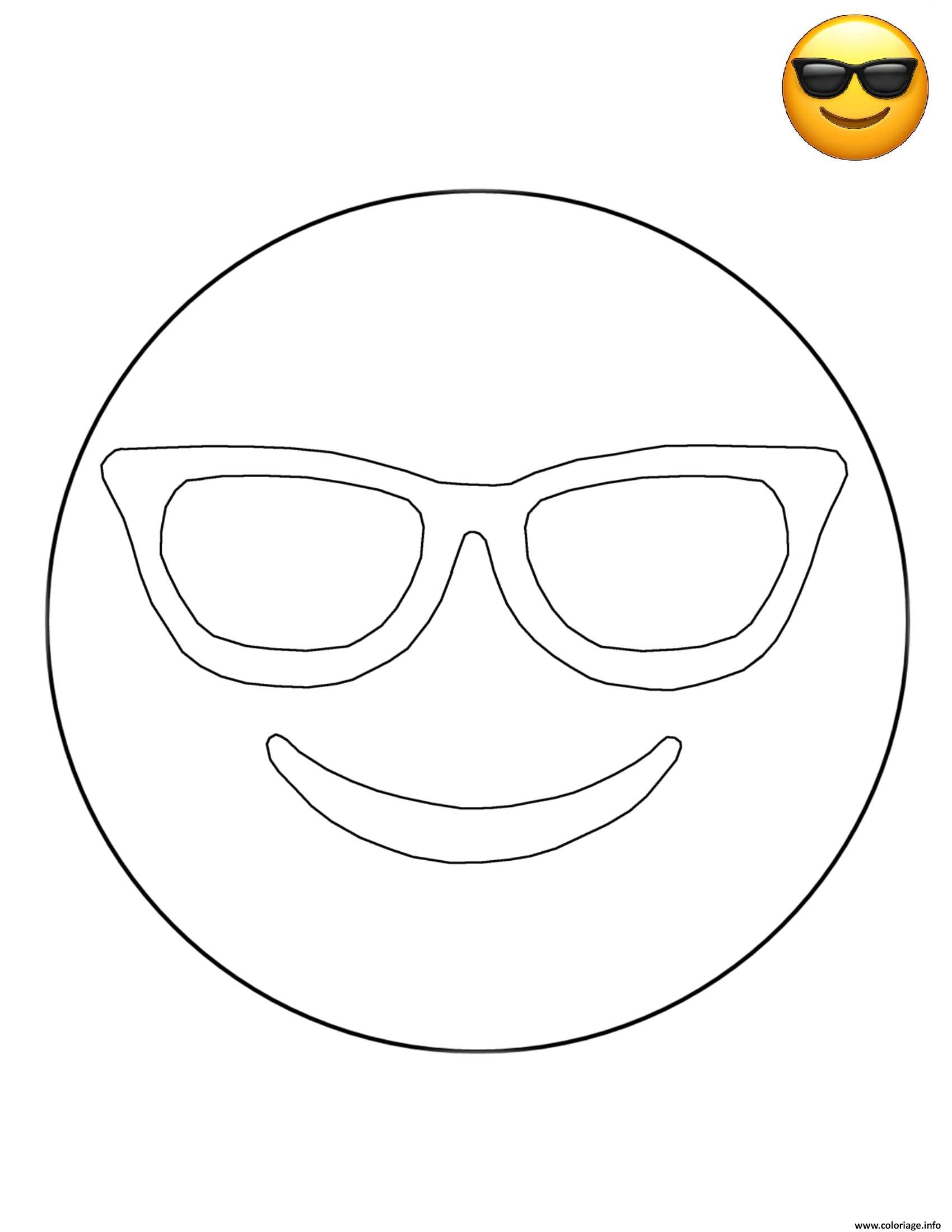 Coloriage emoji sunglasses smiley dessin - Smiley coloriage ...
