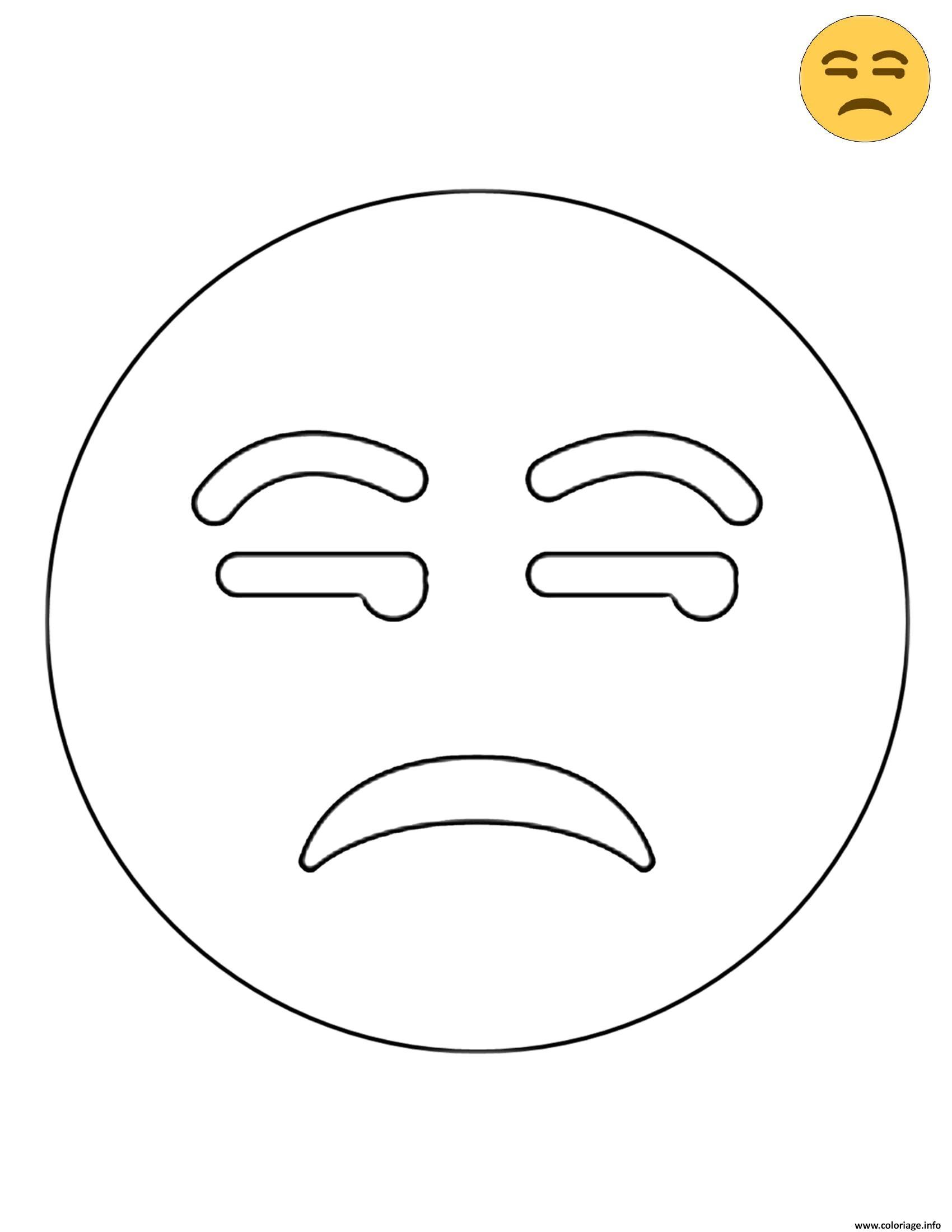 Coloriage Twitter Unamused Face Emoji dessin