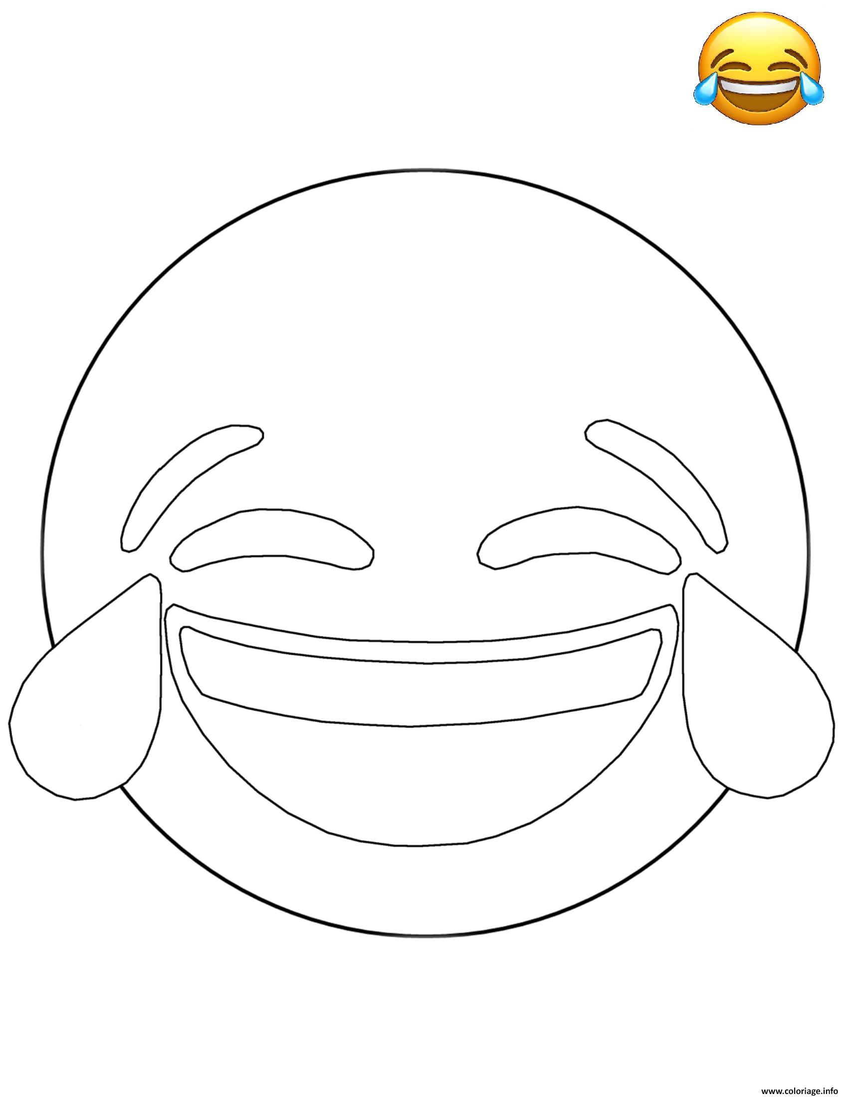 Coloriage emoji tears of joy smiley dessin - Smiley coloriage ...
