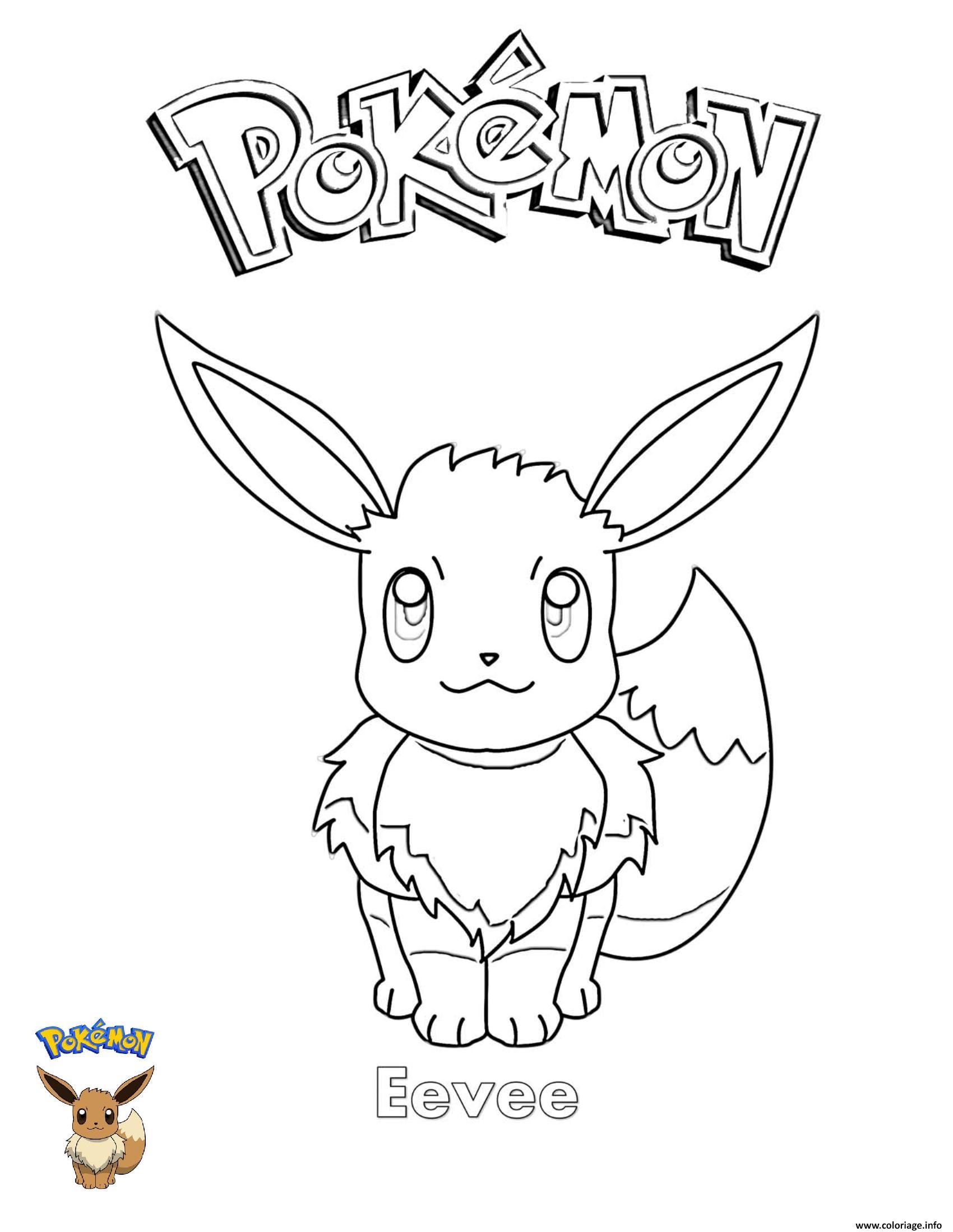 Dessin Eevee Pokemon Coloriage Gratuit à Imprimer