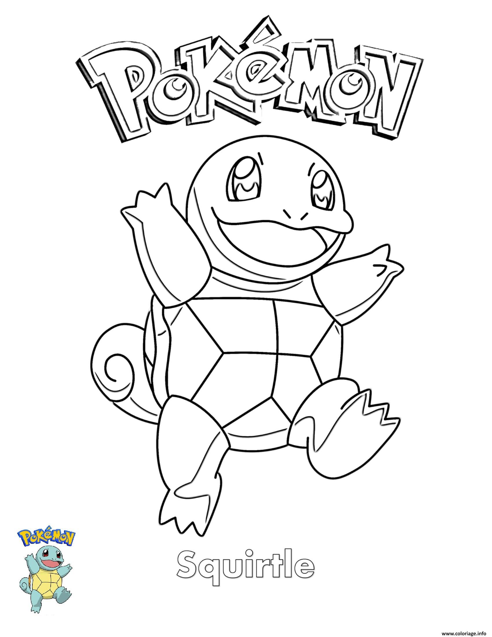 Dessin Squirtle Pokemon Coloriage Gratuit à Imprimer