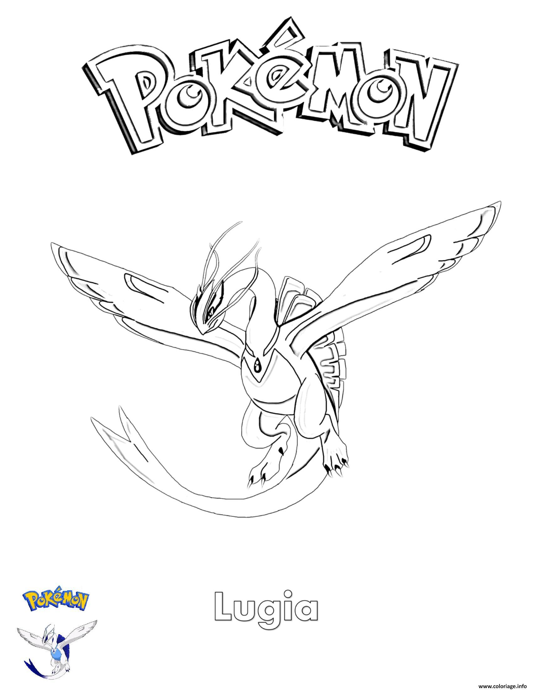 Dessin Lugia Pokemon Coloriage Gratuit à Imprimer