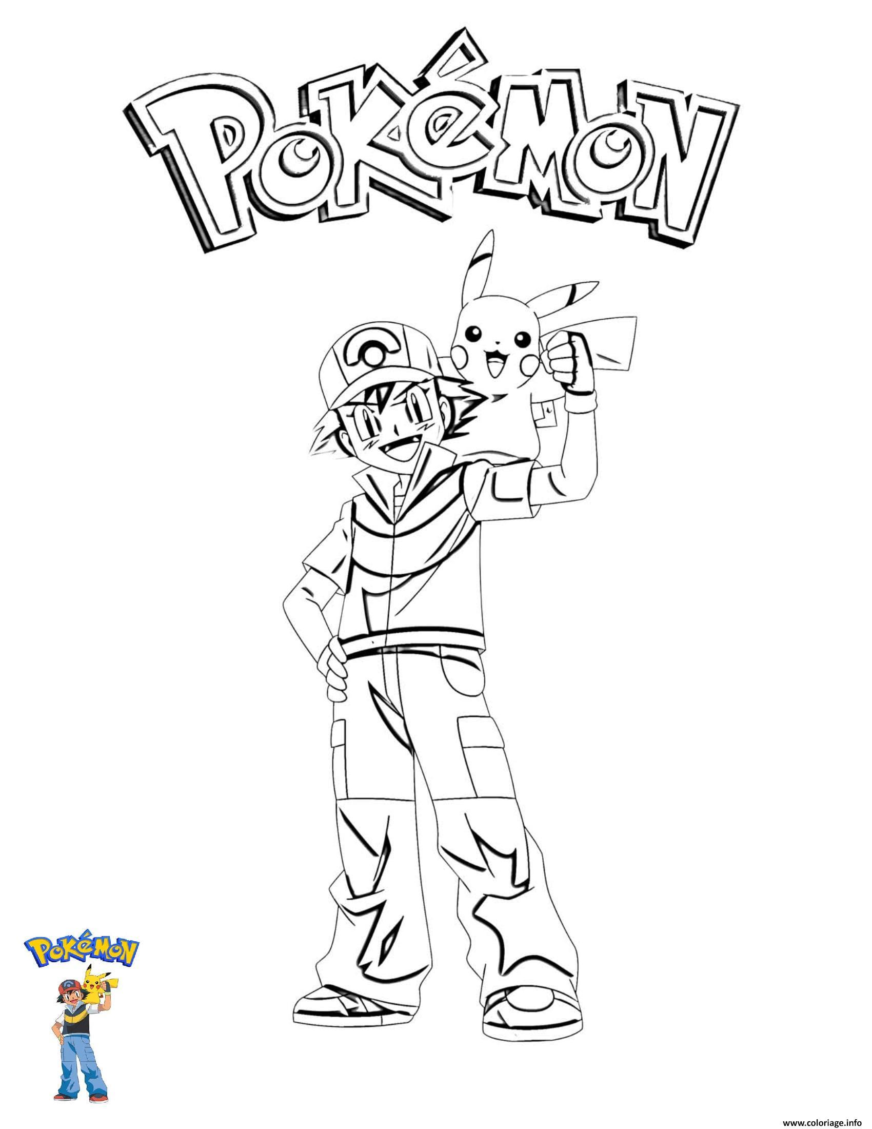 Dessin 3 Ash and Pikachu Pokemon Coloriage Gratuit à Imprimer