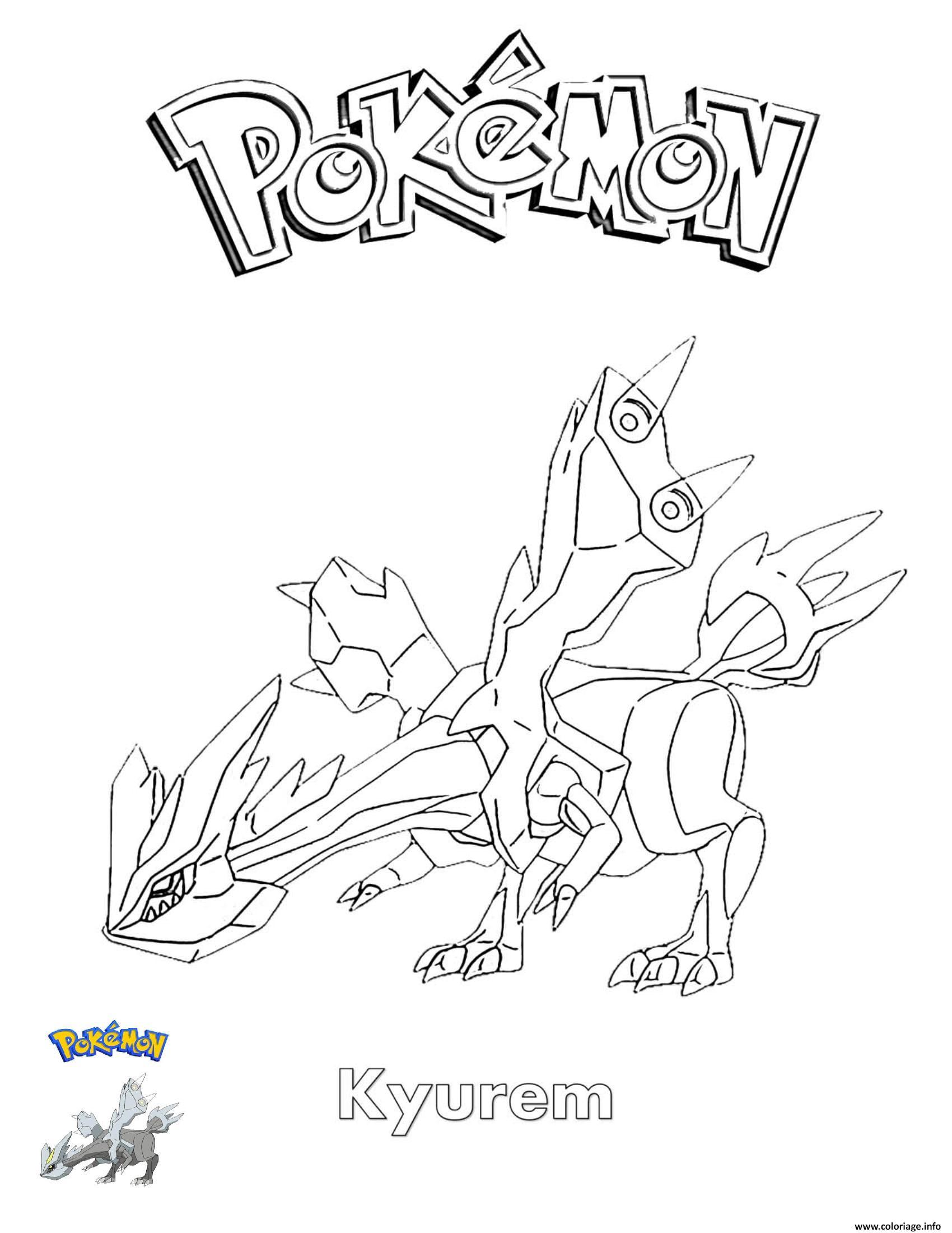 Dessin Kyurem Pokemon Coloriage Gratuit à Imprimer
