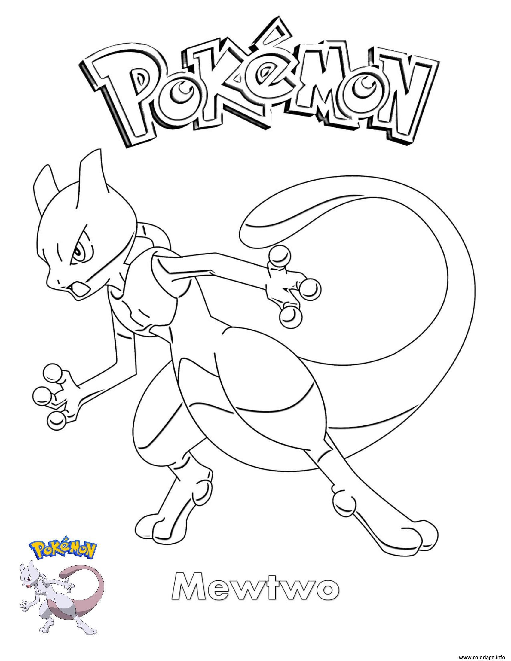 Dessin Mewtwo Pokemon Coloriage Gratuit à Imprimer