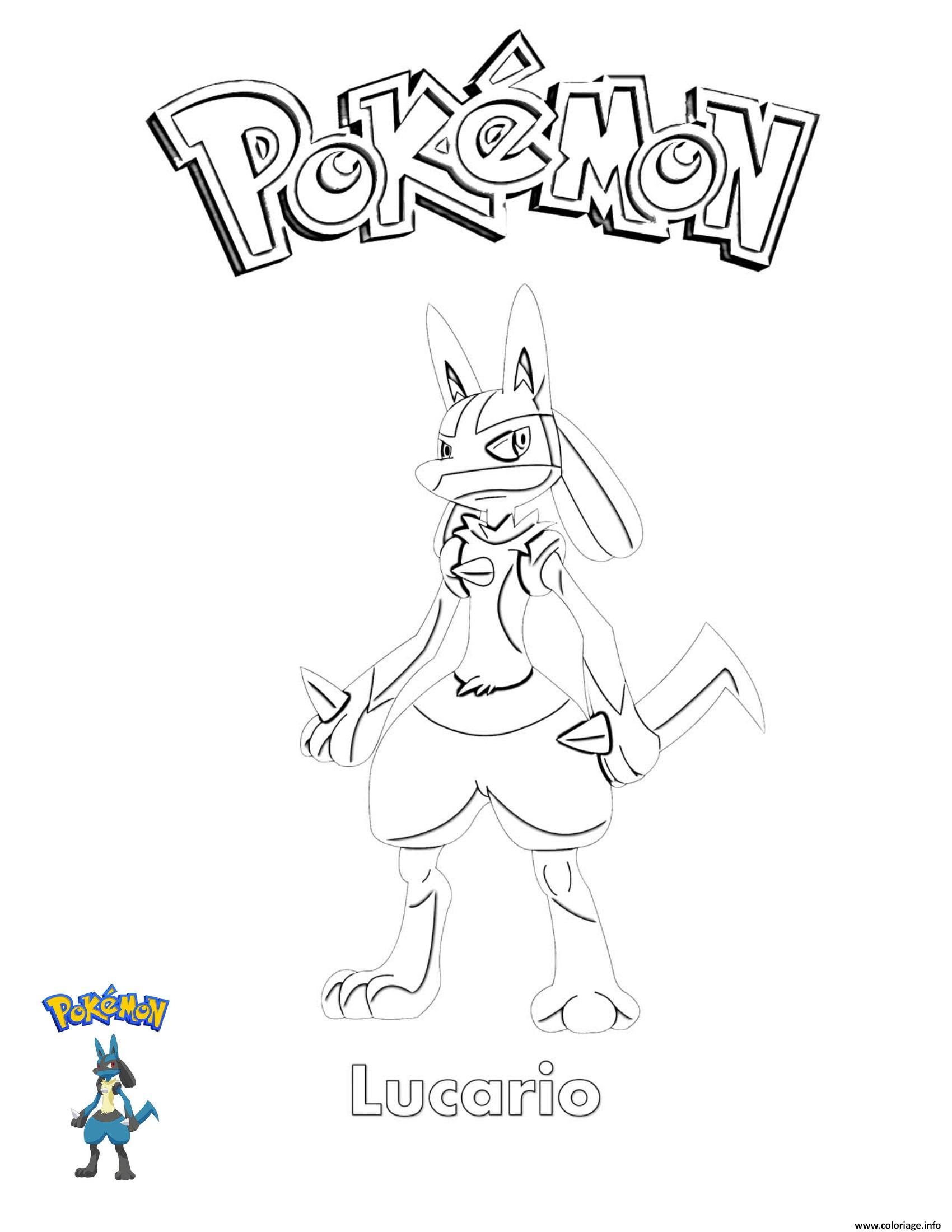 Dessin Lucario Pokemon Coloriage Gratuit à Imprimer