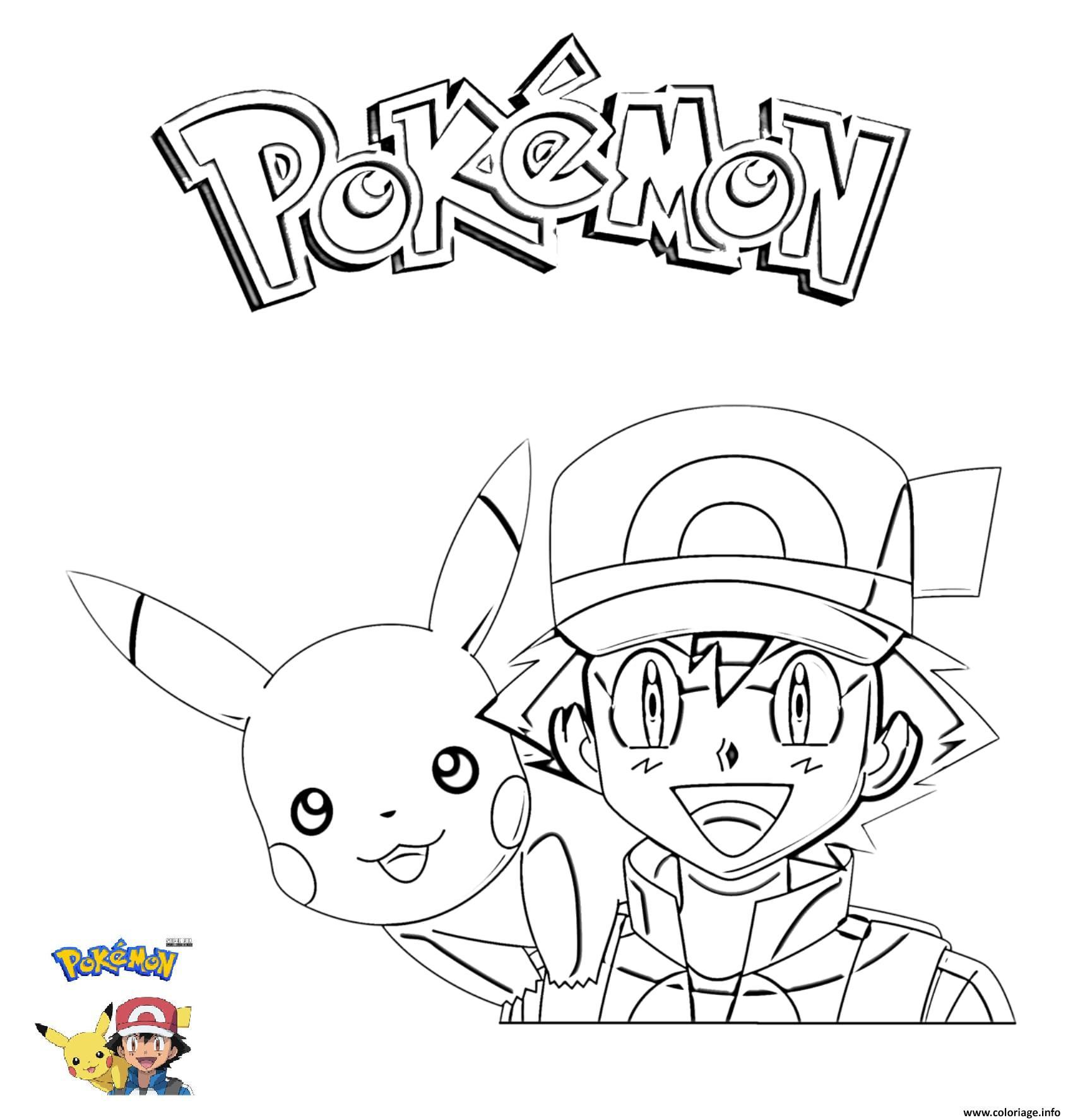 Dessin 2 Ash and Pikachu Pokemon Coloriage Gratuit à Imprimer