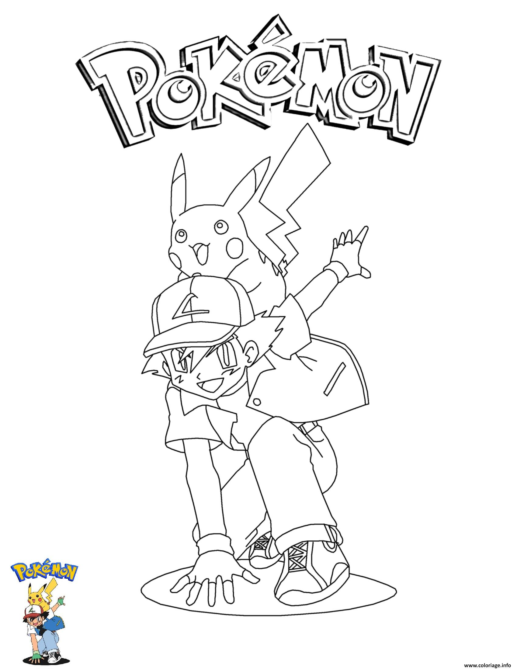 Dessin Ash and Pikachu Pokemon Coloriage Gratuit à Imprimer
