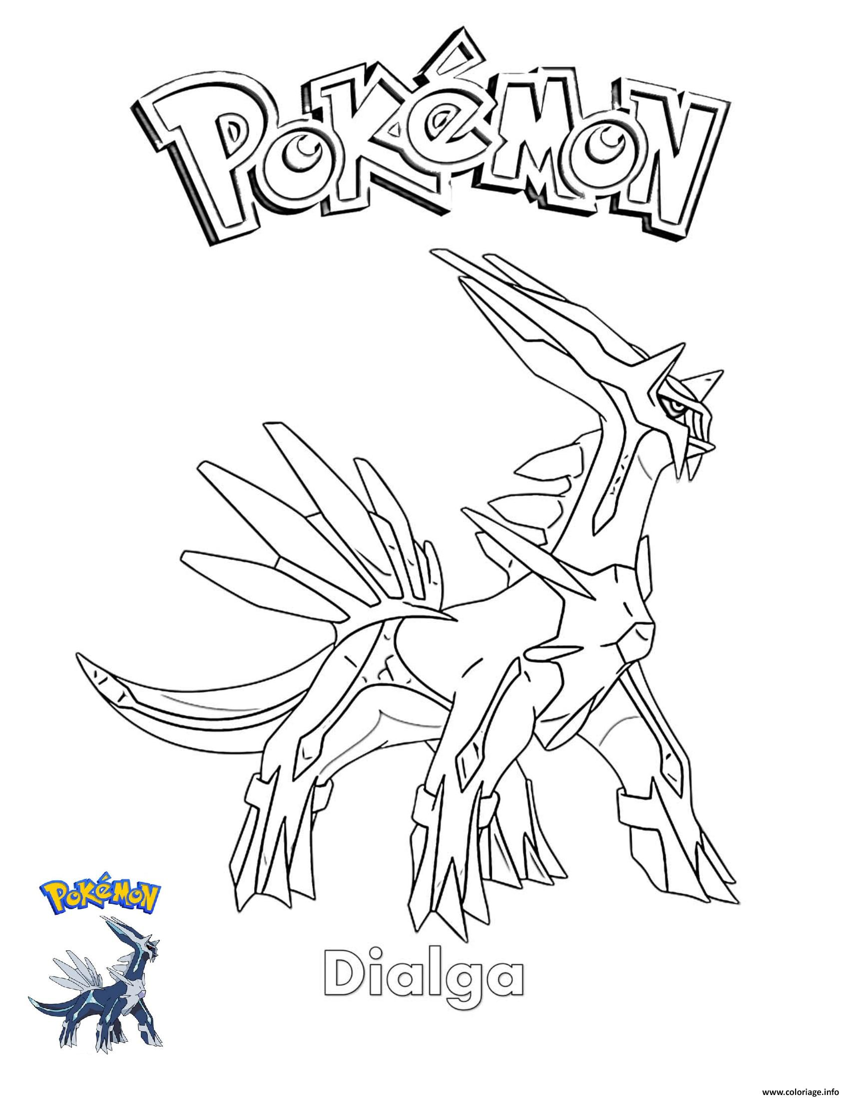 Dessin Dialga Pokemon Coloriage Gratuit à Imprimer