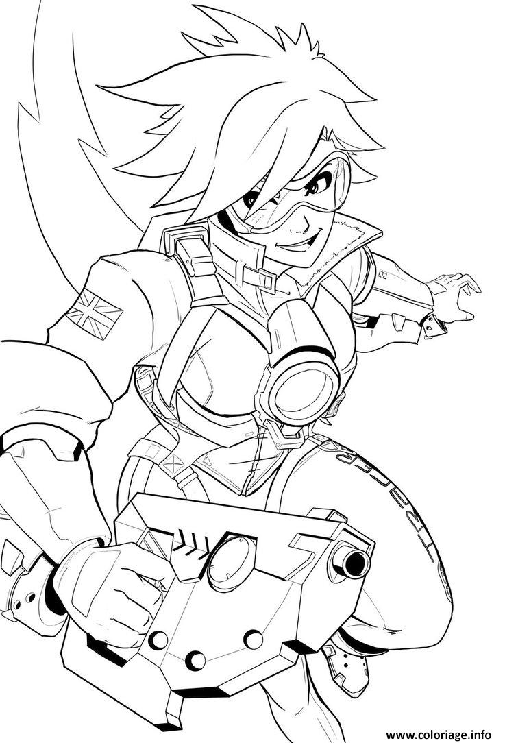 Coloriage Overwatch Tracer Heros Dattaque Dessin à Imprimer