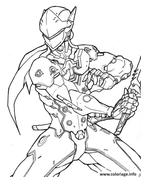 Dessin overwatch genji heros dattaque Coloriage Gratuit à Imprimer