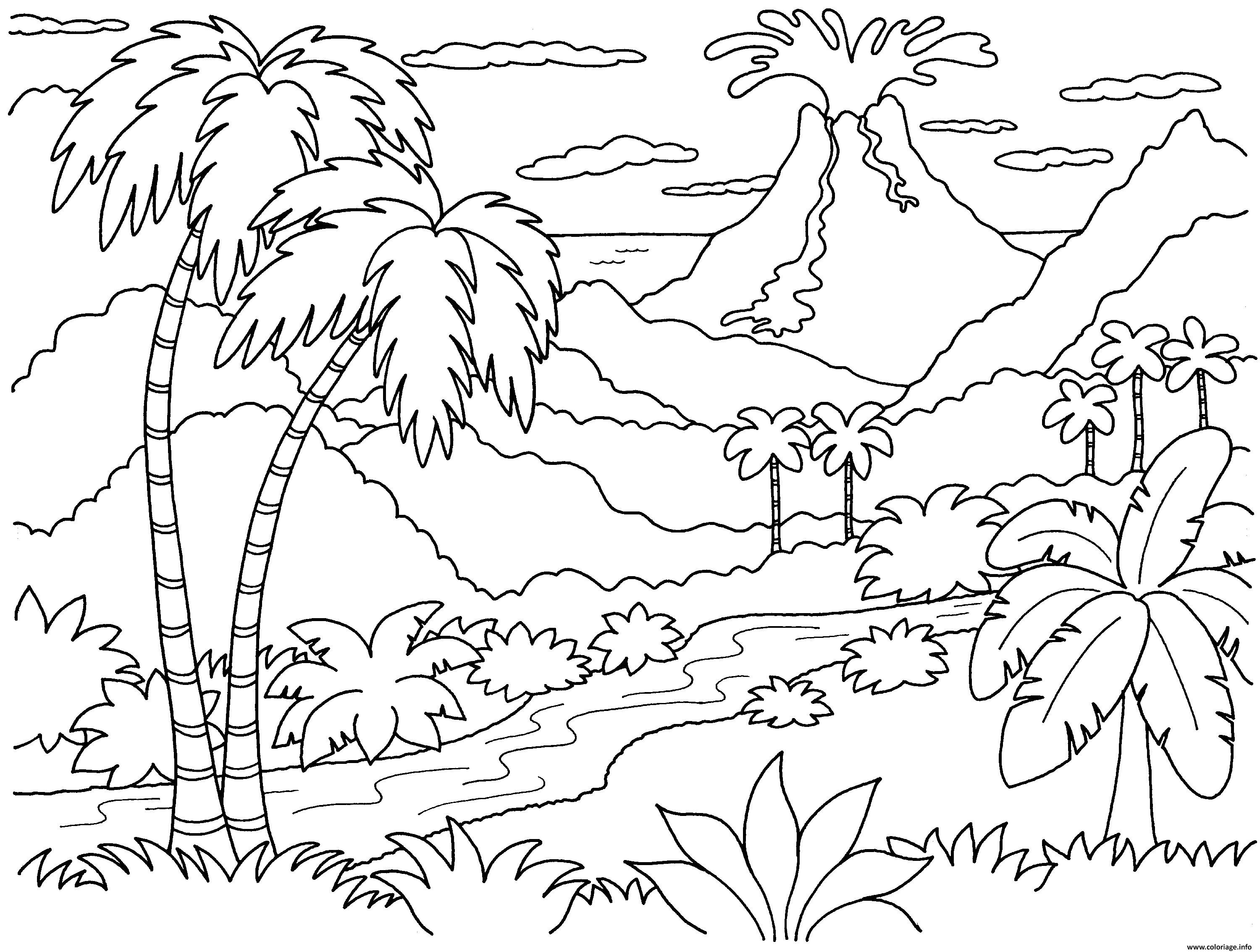 Coloriage Nature Paysage Volcan Dessin