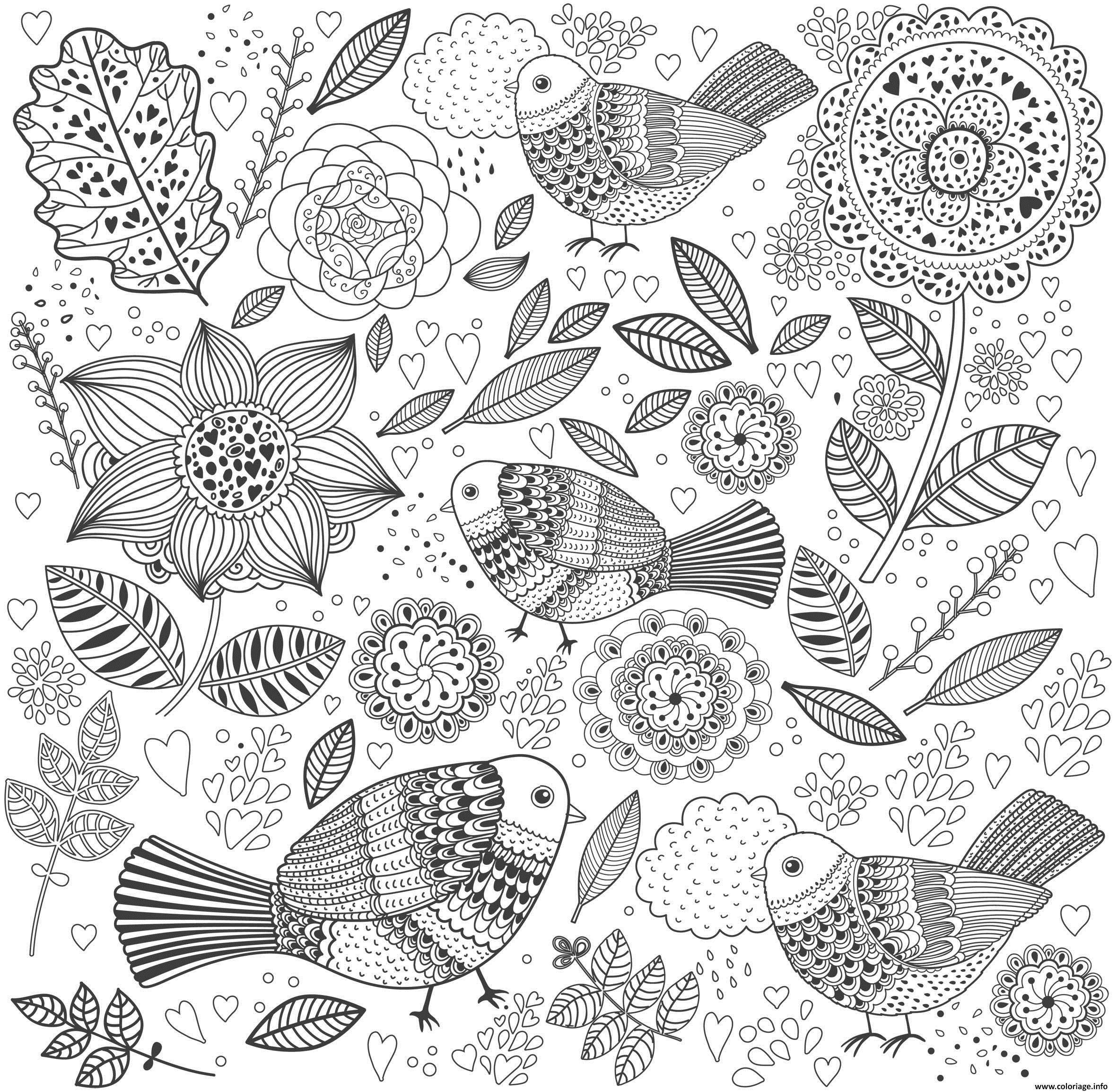 Coloriage Nature Adulte Paysage Oiseaux Fleurs Coeurs Dessin Nature A Imprimer